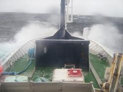 Fishing Vessel Nunatsiavut Nanuk during storm in Baffin Bay, October 2006.